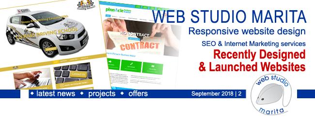 Web Studio 'Marita' newsletter | Recently designed and developed websites | September 2018 | 2