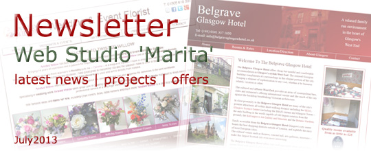 Web Studio 'Marita' | Latest news, projects, offers | Newsletter | July 2013