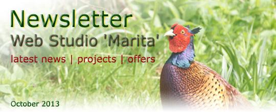 Web Studio 'Marita' | Latest news, projects, offers | Newsletter | October 2013