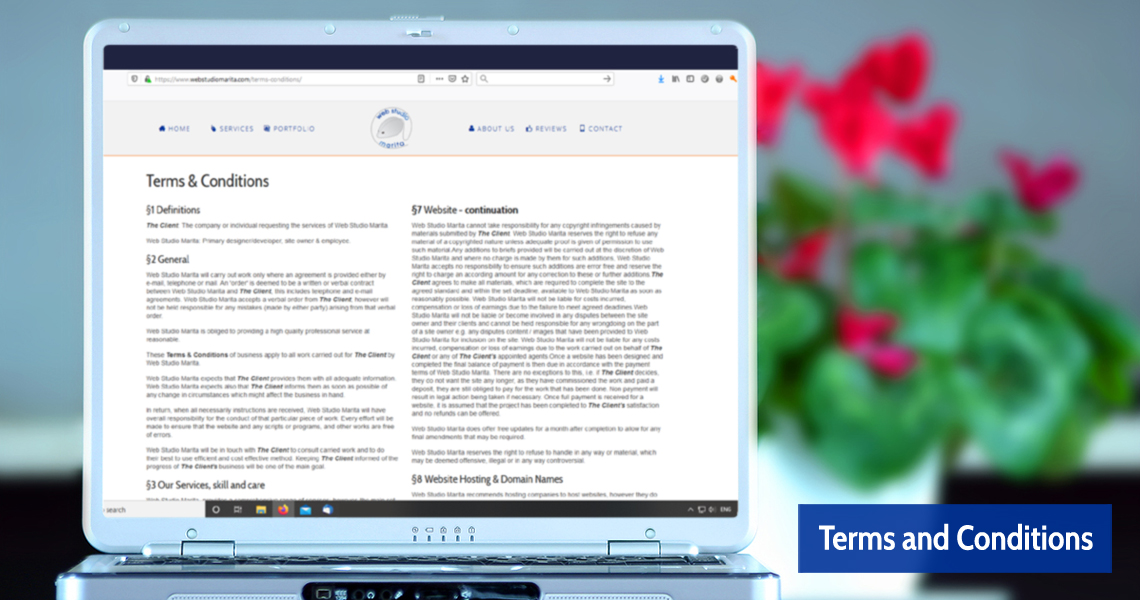 Terms and Conditions of Web Studio Marita Paisey Renfrewshire Scotland